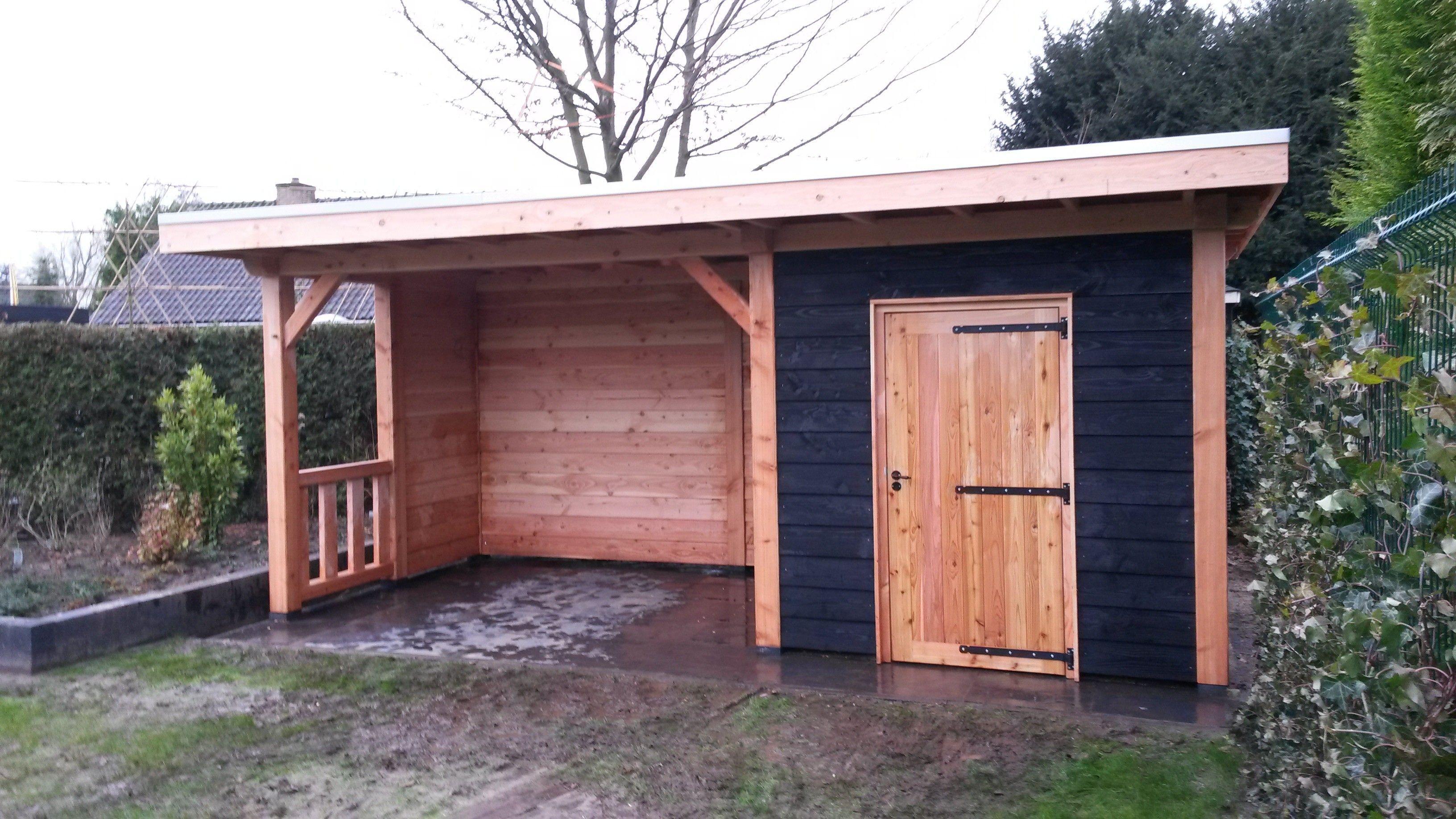 Houtbouw op maat douglas veranda met berging 500x300 for Offerte veranda