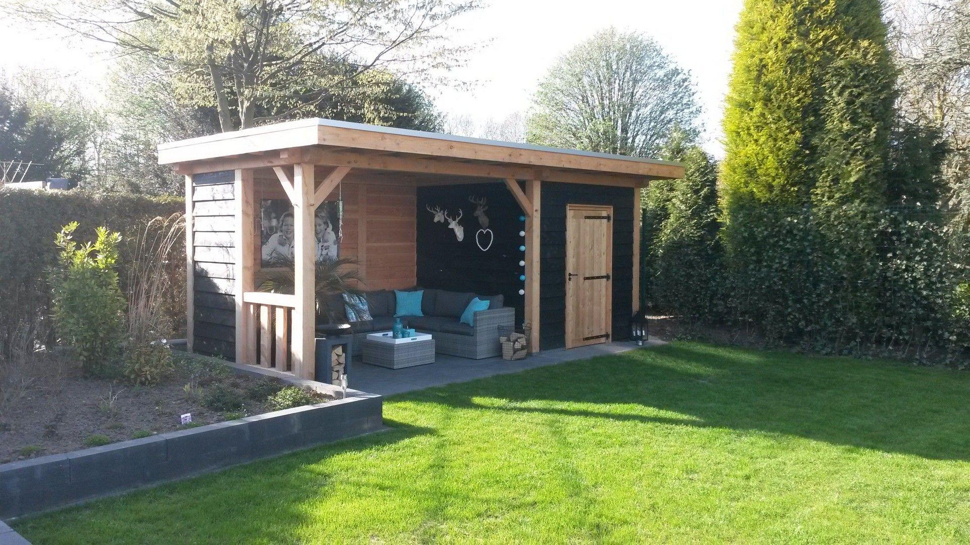Houtbouw op maat douglas veranda met berging 600x300 for Offerte veranda